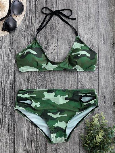 Back Tied Halter Camouflage Bikini Set - Camouflage