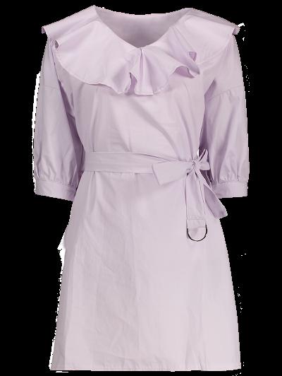 Ruffle Neck Tunic Pullover Shirt With Belt - Light Purple