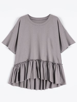 Short Sleeve Ruffle Hem T-Shirt - Smashing