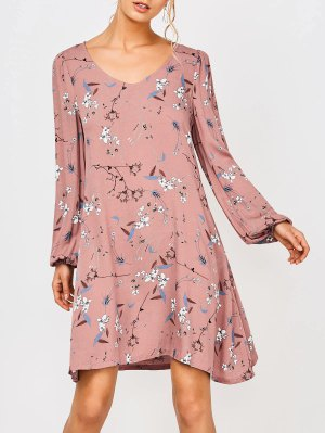 Floral Hollow Out Tunic Dress - Floral