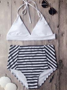 Soft Pad High Waisted Halter Bikini Set - White