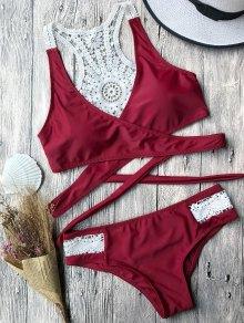 Contrast Lace Wrap Bikini Set - Burgundy