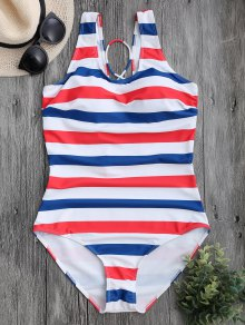 Striped Back Lace Up Swimwear