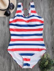 Striped Back Lace Up Swimwear