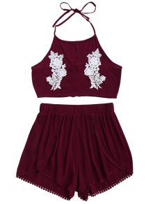 Lace Floral Halter Crop Top And Shorts WINE RED Shorts   ZAFUL