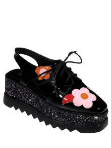 Flowers Sequins Square Toe Platform Shoes - Black