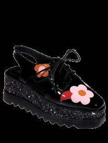 Zapatos Cuadrados De La Plataforma Del Dedo Del Pie De - Negro