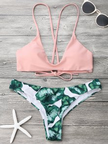 Palm Leaf Cami Bralette Bikini Set - Pink And Green