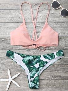 Palm Leaf Cami Bralette Bikini Set - Pink And Green