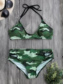 Back Tied Halter Camouflage Bikini Set