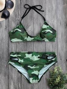Back Tied Halter Camouflage Bikini Set