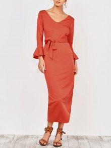 Slit Belted Prom Dress - Jacinth Xl