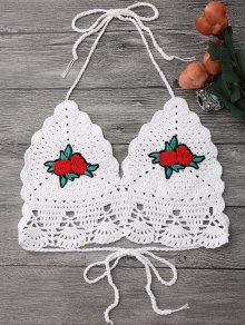 Floral Patch Crochet Bikini Crop Top - White