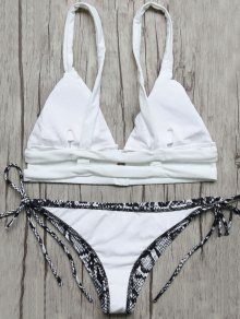 Plunge Bikini Top and Python Print Thong Bottoms