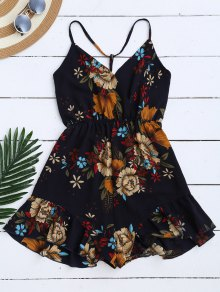 Spaghetti Straps Caged Floral Romper - Purplish Blue