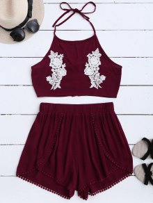 Lace Floral Halter Crop Top Et Shorts - Rouge Vineux