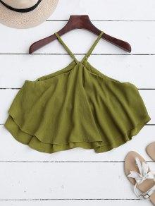 Halter Ruffle Chiffon Crop Top - Green