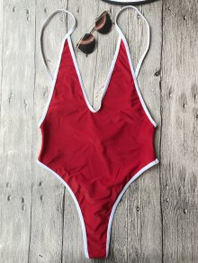 Contrast Piping High Cut One Piece Swimsuit - Red