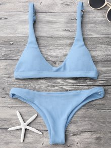 Low Waisted Padded Scoop Bikini Set - Light Blue M