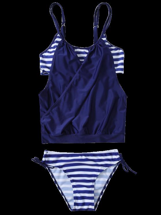 Striped Spaghetti Strap Blouson Tankini Bathing Suits - DEEP BLUE S Mobile