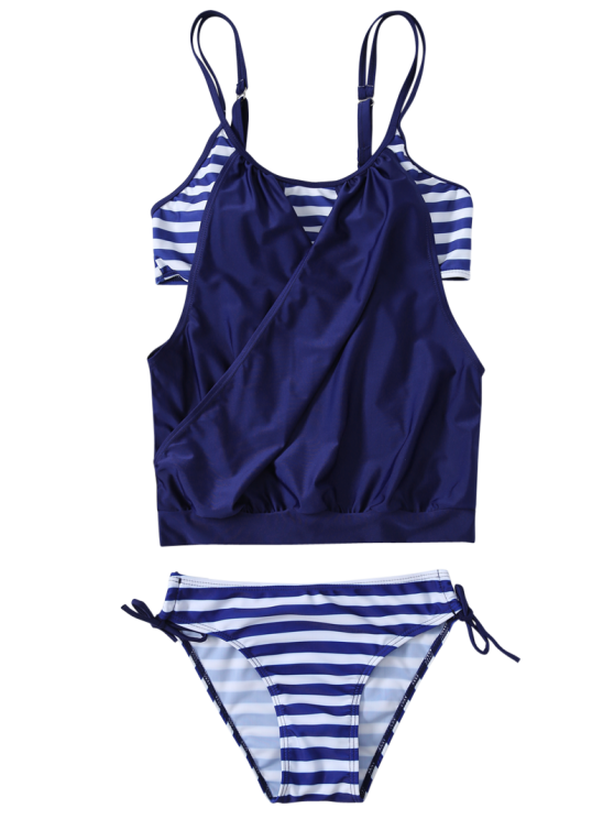 Striped Spaghetti Strap Blouson Tankini Bathing Suits - DEEP BLUE 2XL Mobile