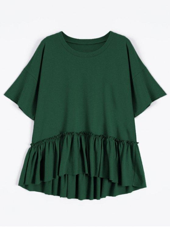 unique Short Sleeve Ruffle Hem T-Shirt - BLACKISH GREEN ONE SIZE