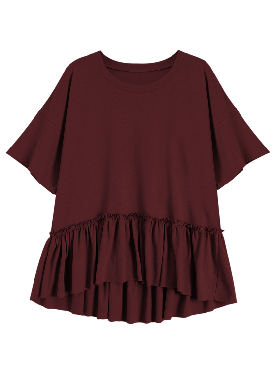 Short Sleeve Ruffle Hem T-Shirt - WINE RED ONE SIZE Mobile