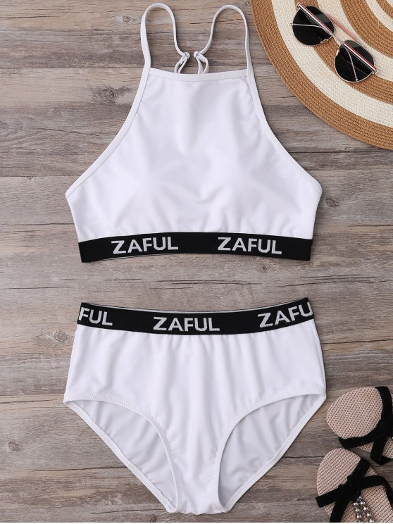 latest High Neck Logo Band Bikini Set - WHITE M