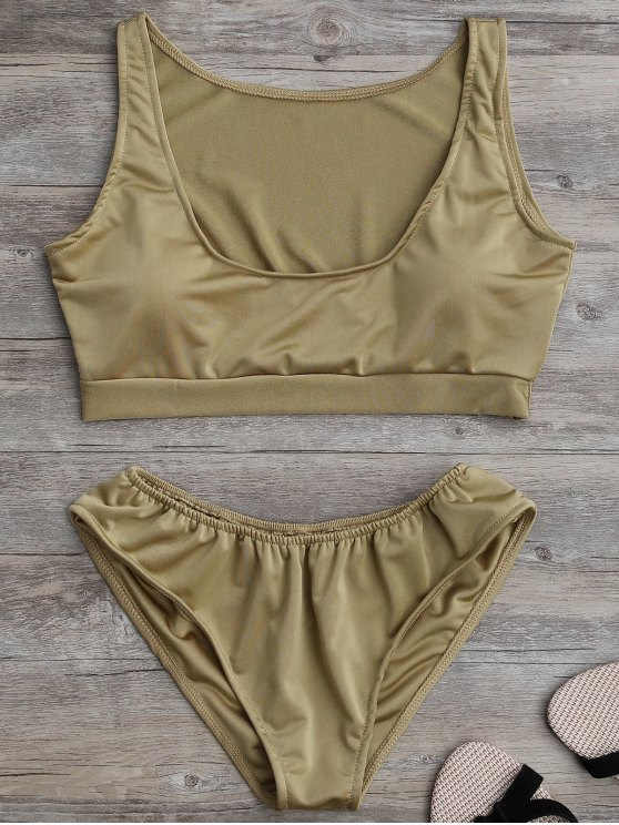 fashion Padded U Neck Bathing Suit - KHAKI L