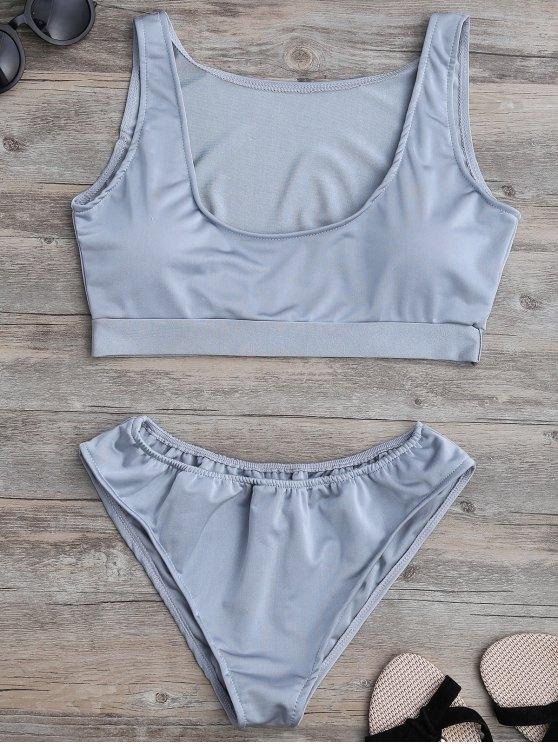 sale Padded U Neck Bathing Suit - GRAY M