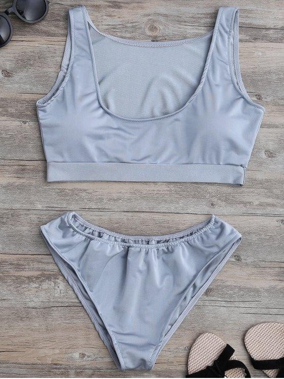affordable Padded U Neck Bathing Suit - GRAY S