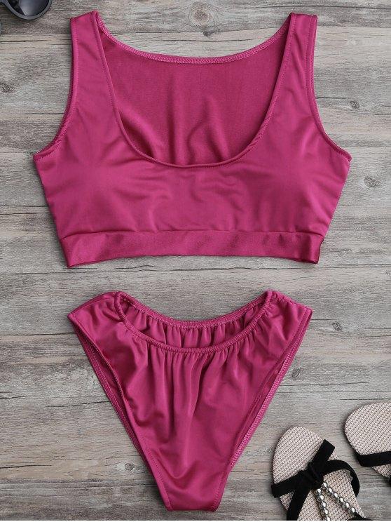 buy Padded U Neck Bathing Suit - ROSE MADDER L