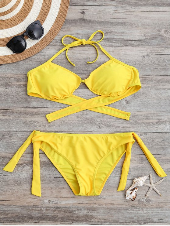 online Tie Back Padded Bathing Suit - YELLOW L