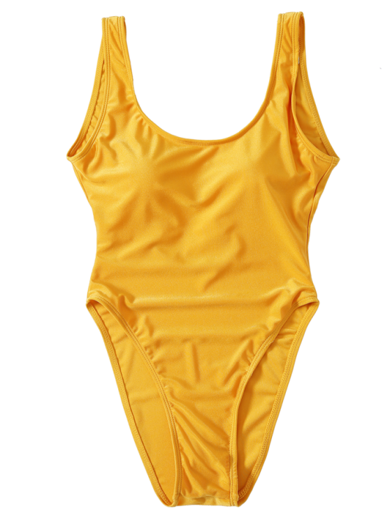 High Cut Backless Swimsuit - YELLOW S Mobile