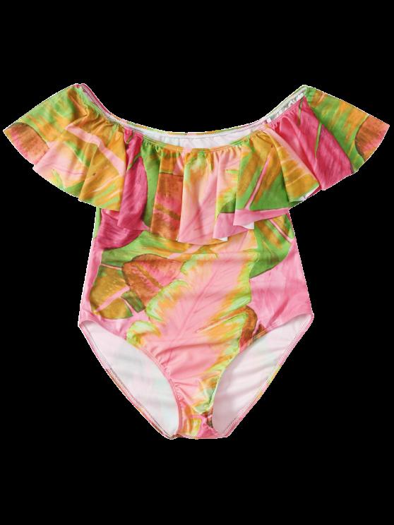 Ruffles Off Shoulder Leaf Print Swimwear - COLORMIX M Mobile