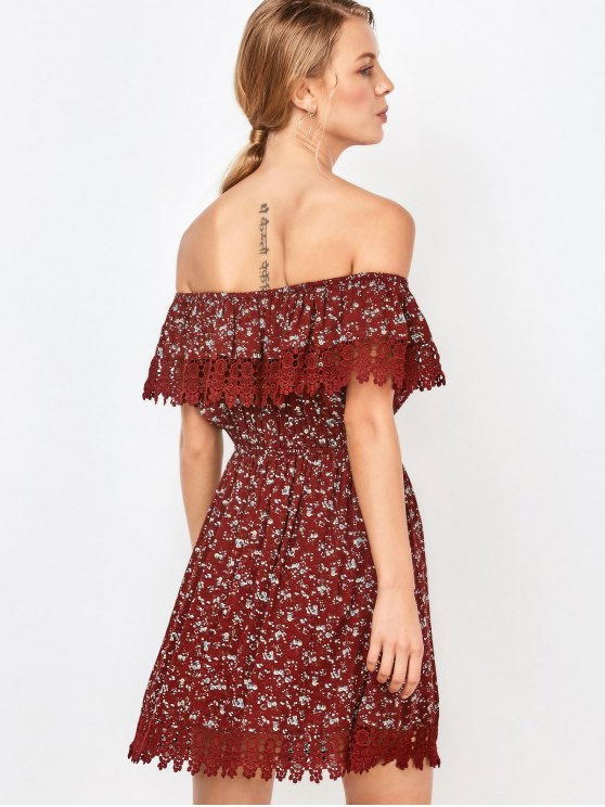 Lace Trim Off The Shoulder Dress - WINE RED S Mobile