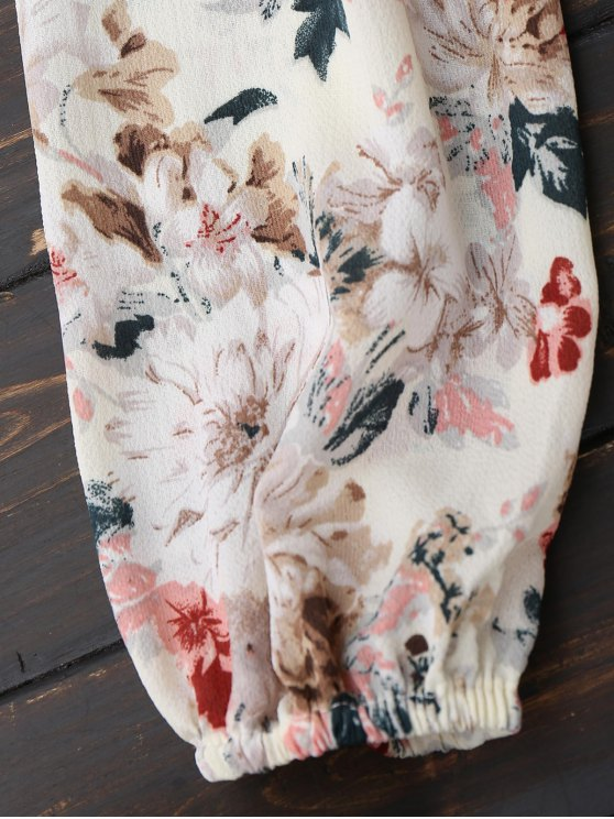 Floral Off Shoulder Tie Front Holiday Dress - FLORAL M Mobile