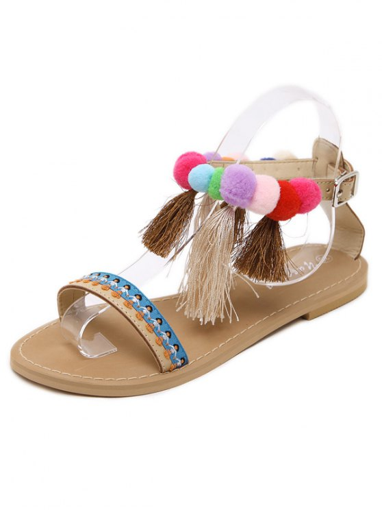 Ankle Strap Pompon Tassels Sandals - APRICOT 38 Mobile