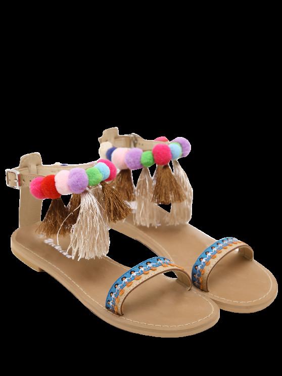 womens Ankle Strap Pompon Tassels Sandals - APRICOT 39