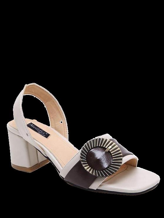 online Block Heel Slingback Buckle Strap Sandals - OFF-WHITE 37