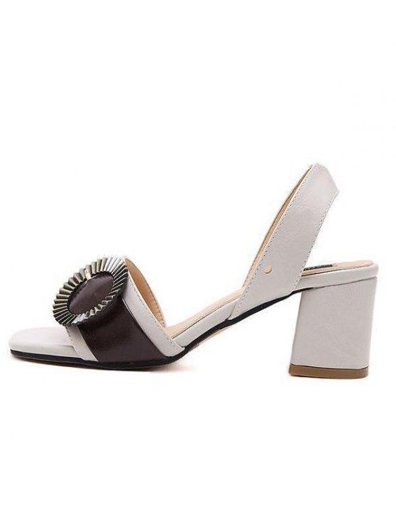 Block Heel Slingback Buckle Strap Sandals - OFF-WHITE 38 Mobile
