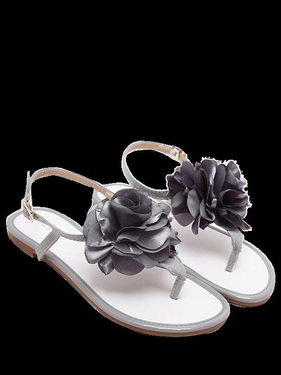 Patente de cuero flor plana talón sandalias - Gris 37