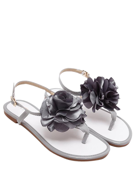 outfits Patent Leather Flower Flat Heel Sandals - GRAY 39