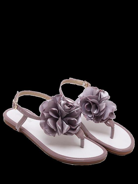 shop Patent Leather Flower Flat Heel Sandals - SMASHING 39