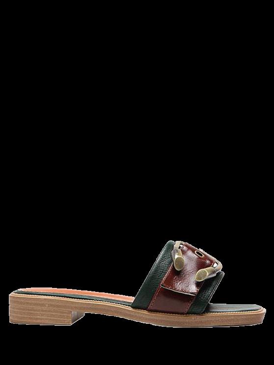 Faux cuero color bloqueo hebilla correas zapatillas - Verde negruzco 37