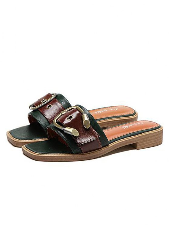 Faux Leather Color Block Buckle Strap Slippers - BLACKISH GREEN 38 Mobile