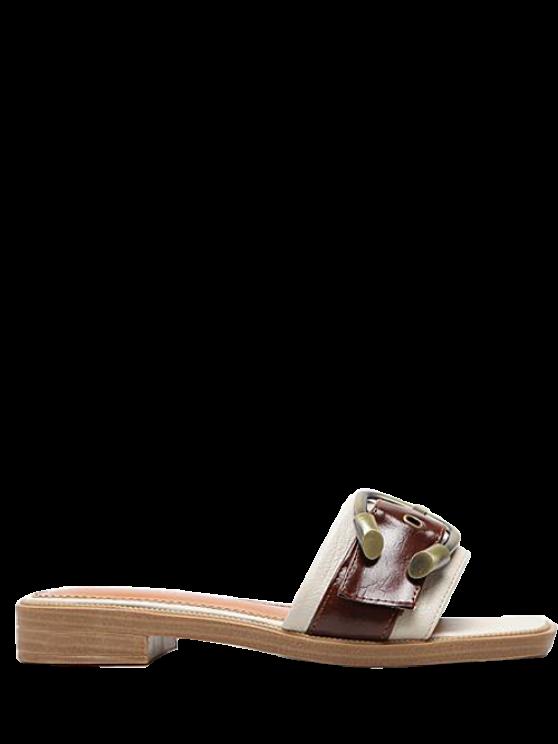 Faux cuero color bloqueo hebilla correas zapatillas - Albaricoque 38