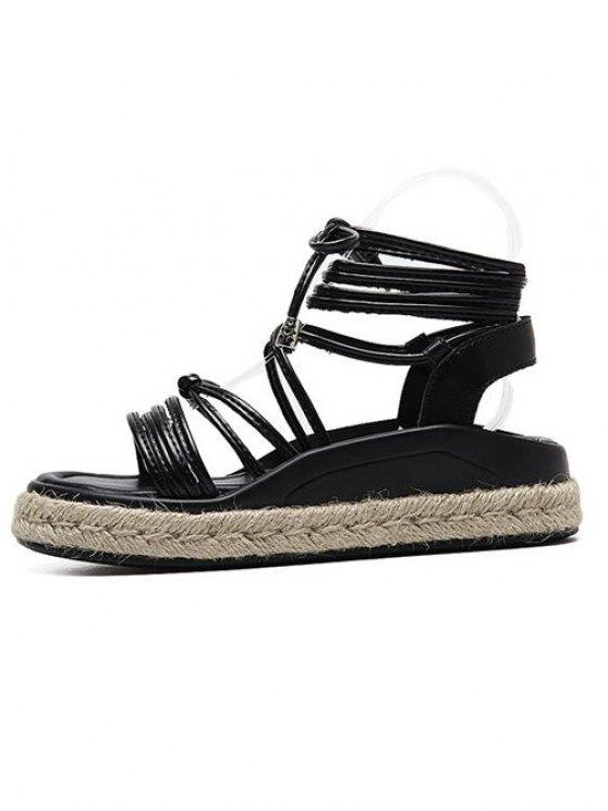 Tie Up Espadrilles Faux Leather Sandals - BLACK 38 Mobile
