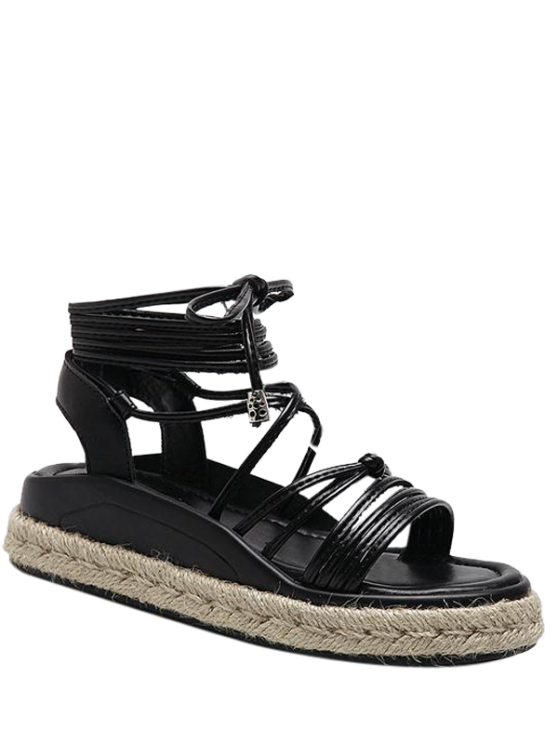 Amarre las sandalias del cuero del Faux de las alpargatas - Negro 39