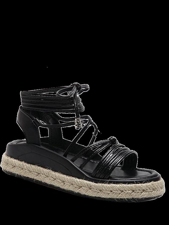 women Tie Up Espadrilles Faux Leather Sandals - BLACK 40